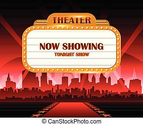 Gold brightly theater glowing retro cinema neon sign with city in background