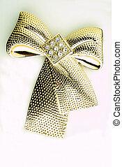 Gold brooch - goldene Brosche - golden ribbon brooch on...