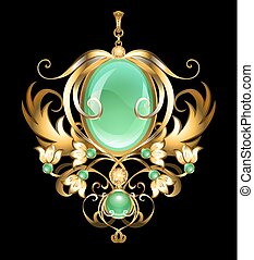 Gold brooch with chrysoprase