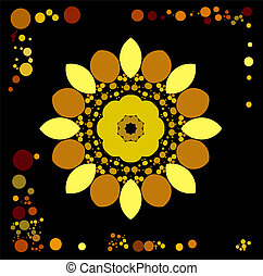 gold brown spiral Fire flaming flower