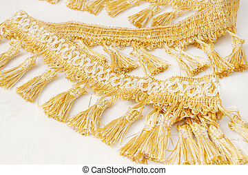 Gold brush made of thread decoration for curtain
