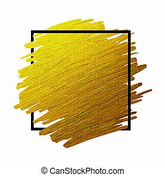 Gold brush stoke texture on white background with black line...