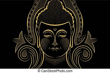 Gold Buddha face traditional asian art concept