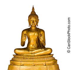 Gold Buddha on white background