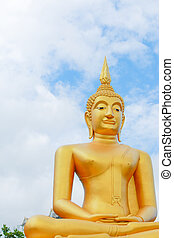 Gold buddha statues on blue sky background