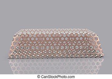 Gold bullion 3D render on gray background