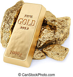 gold bullion and gold nuggets on a white background. 3d...