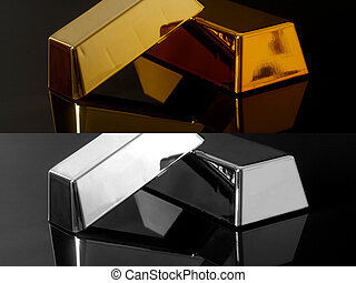 Gold bullion and silver bars on black background