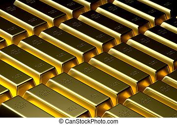Gold Bullion Bar Background - Background of luxurious and...