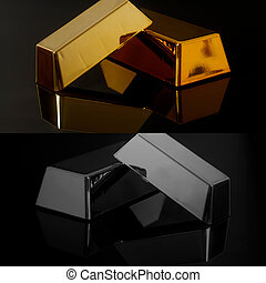 Gold bullion bars and silver on black background