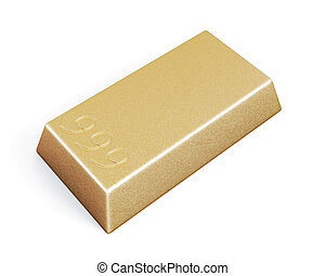 Gold bullion bars isolated on white background. 3d...