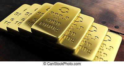 Gold bullion bars isolated on wooden background. 3d illustration