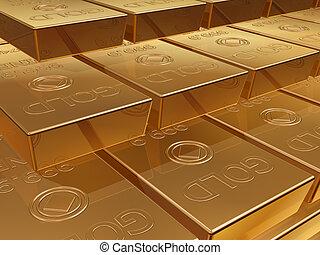 Gold bullion - Illustration of a stack of gold bar reserves