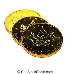 Gold Bullion Coins, isolated - Gold bullion coins, stacked...