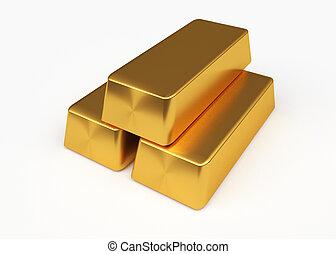 Gold bullion - Three bullion of gold lying on each other