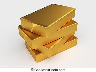 Gold bullion - Four bullion of gold lying on each other