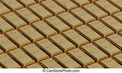 Gold bullion - Array of gold bullion 3d render money concept