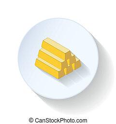 Gold bullion flat icons set vector graphic illustration