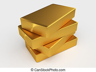 Gold bullion - Four bullion of gold lying on each other