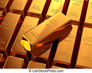 Gold Bullion - Gold bullion bars stacked on top of each...