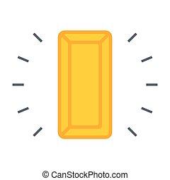 Gold Bullion Icon - Simple icon with gold bullion on white...