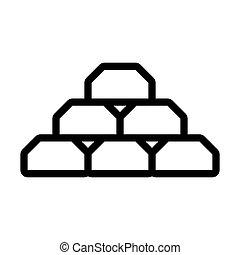 Gold Bullion Icon. Editable Bold Outline Design. Vector Illustration.