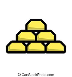 Gold Bullion Icon. Editable Thick Outline With Color Fill Design. Vector Illustration.