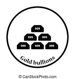 Gold bullion icon. Thin circle design. Vector illustration.