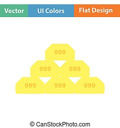 Gold bullion icon. Flat color design. Vector illustration.