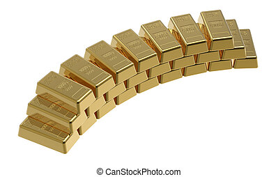 Gold bullion isolated on white 3d render