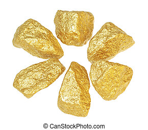 Gold bullion nuggets. On a white background.