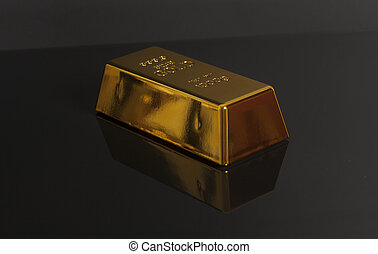 Gold bullion on a black background
