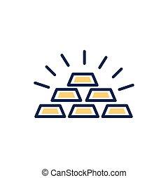 gold bullion pile isolated icon vector illustration design