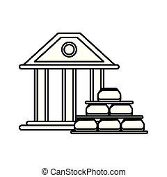 gold bullion pyramid with bank building vector illustration ...