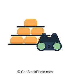 gold bullion pyramid with binoculars vector illustration ...
