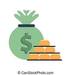 gold bullion pyramid with money bag vector illustration ...