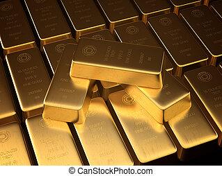 Stacked bars of gold bullion.
