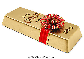 bullion - gold bullion tied red ribbon with bow. isolated on...