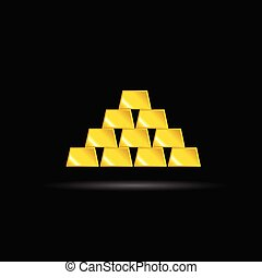 gold bullion yellow vector on black background