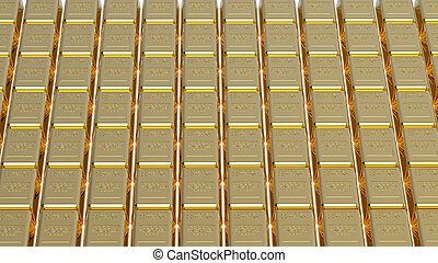 Gold bullions - Array of gold bullion 3d render money...