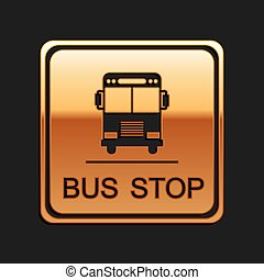 Gold Bus stop icon isolated on black background. Long shadow style. Vector