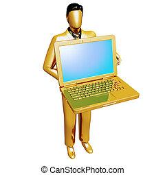 Gold businessman holding laptop