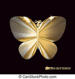 Gold butterfly on black background. Vector illustration.