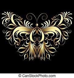 Gold butterfly. Vector illustration. Patterned vintage design.