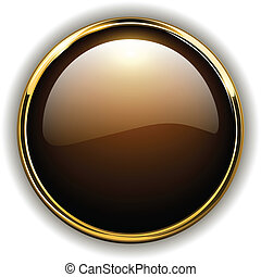 Gold button shiny metallic, vector illustration