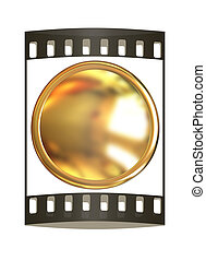 Gold button. The film strip