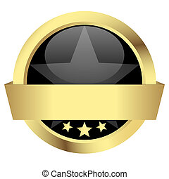 gold button with banner - template