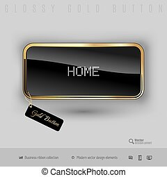 Gold button with black glossy inside