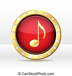 Gold button with musical note sign. Music icon. Vector illustration