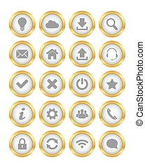 Gold buttons - Set of web gold buttons